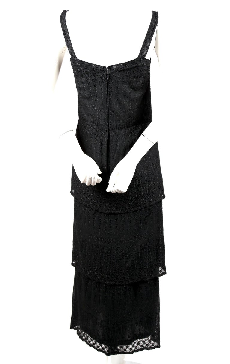 1970's TED LAPIDUS couture eyelet dress with tiered hem In Good Condition For Sale In San Fransisco, CA