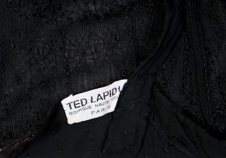 Women's or Men's 1970's TED LAPIDUS couture eyelet dress with tiered hem For Sale