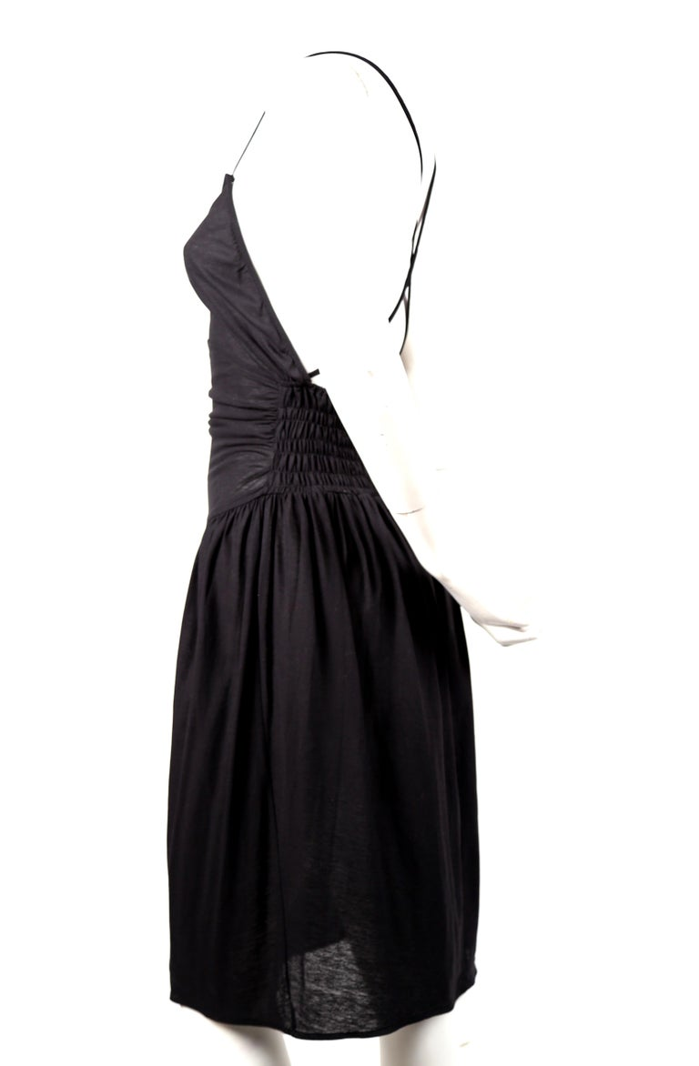 Black 1990's CERRUTI 1881 black shirred cotton dress For Sale