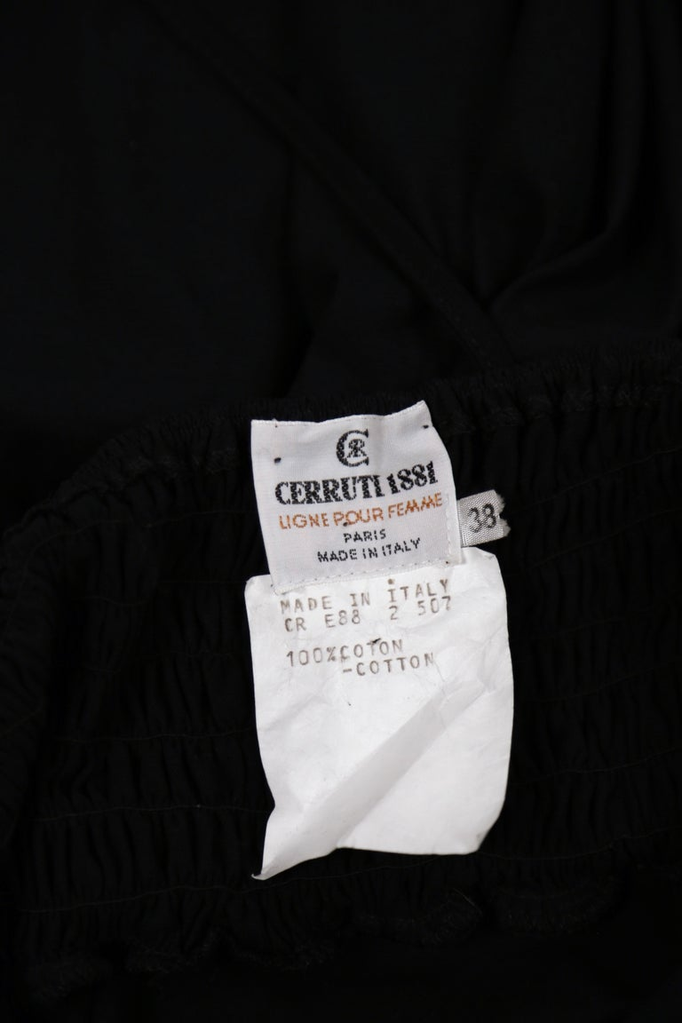 1990's CERRUTI 1881 black shirred cotton dress For Sale 1