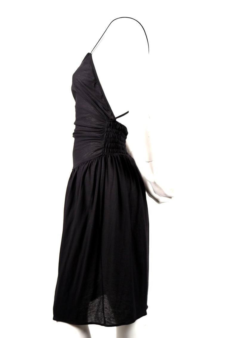1990's CERRUTI 1881 black shirred cotton dress In Excellent Condition For Sale In San Fransisco, CA