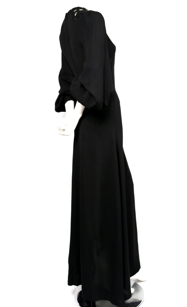 Black 1970's OSSIE CLARK black moss crepe dress with keyhole neck and embroidery For Sale