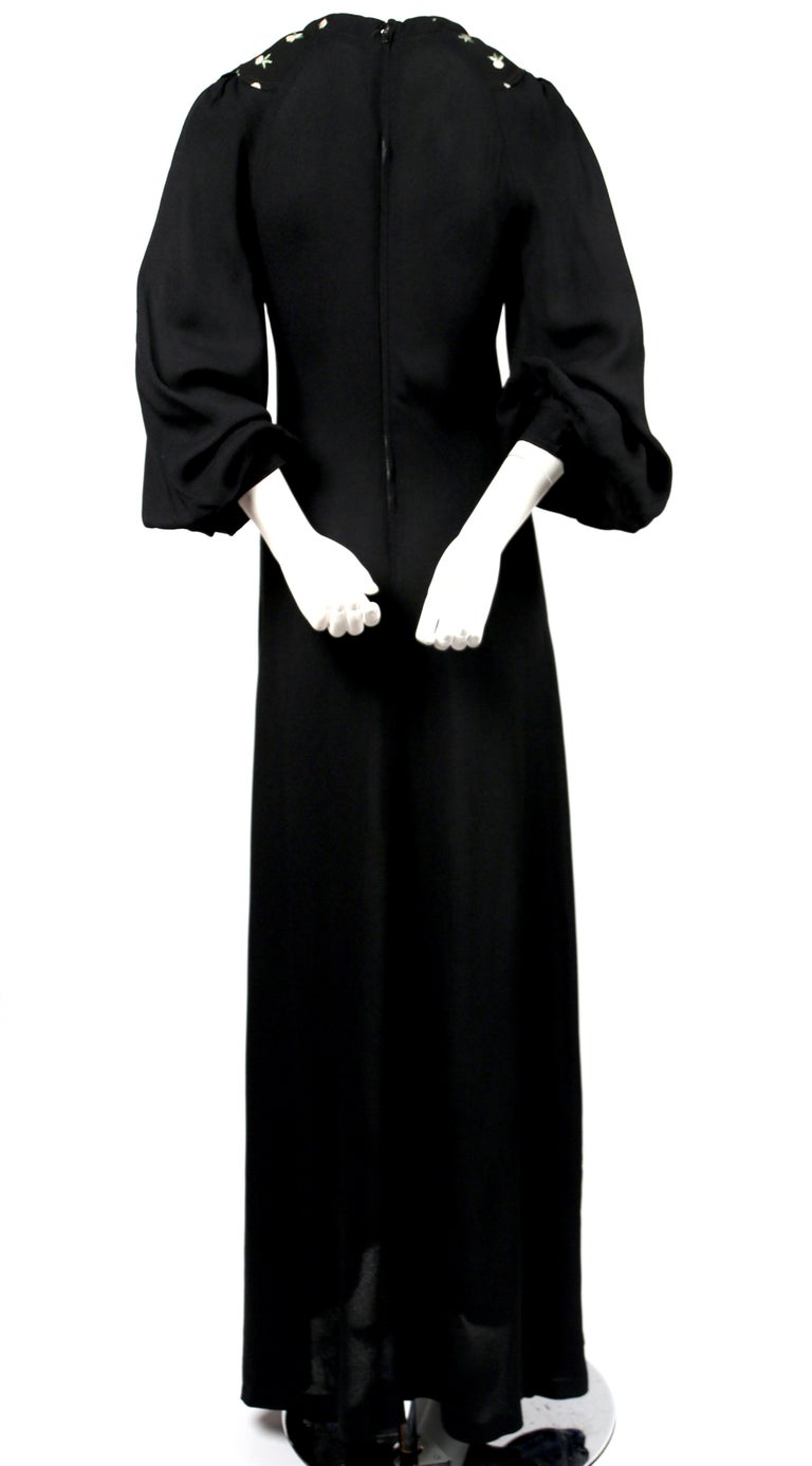 Women's or Men's 1970's OSSIE CLARK black moss crepe dress with keyhole neck and embroidery For Sale