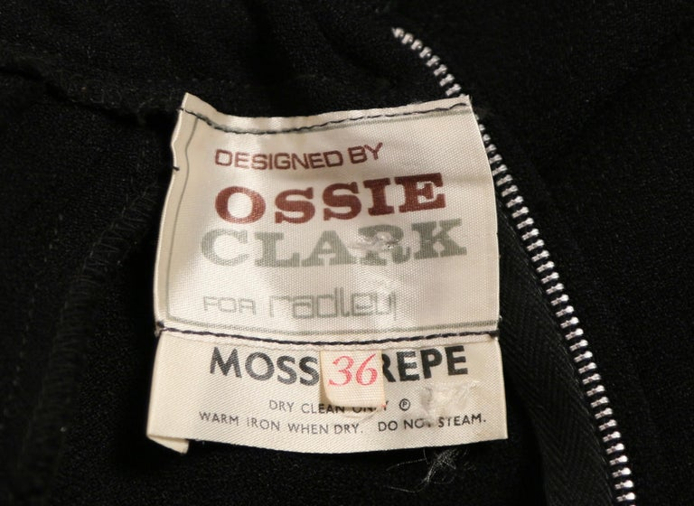 1970's OSSIE CLARK black moss crepe dress with keyhole neck and embroidery For Sale 1