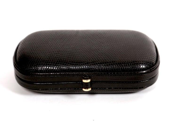 Black 1980's BOTTEGA VENETA karung lizard clutch bag  For Sale