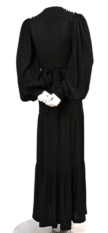 Black OSSIE CLARK Quorum black moss crepe dress with embroidered moons & stars For Sale