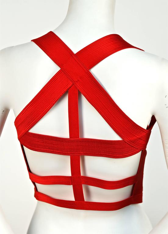 Iconic GIANNI VERSACE COUTURE Red Bondage Harness Bodice Fall 1992 3