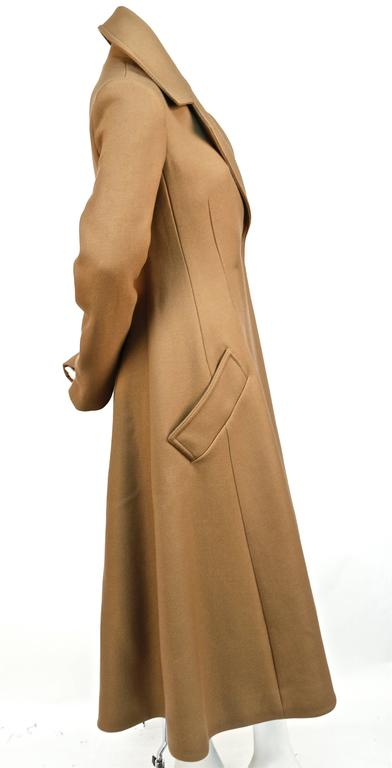 unworn CELINE fitted camel wool gaberdine runway coat - fall 2014 In New never worn Condition For Sale In San Francisco, CA