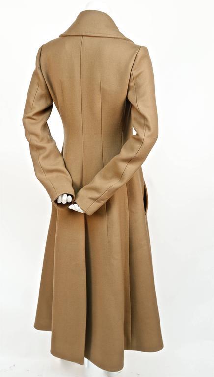Women's unworn CELINE fitted camel wool gaberdine runway coat - fall 2014 For Sale
