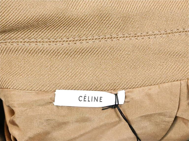 unworn CELINE fitted camel wool gaberdine runway coat - fall 2014 For Sale 1