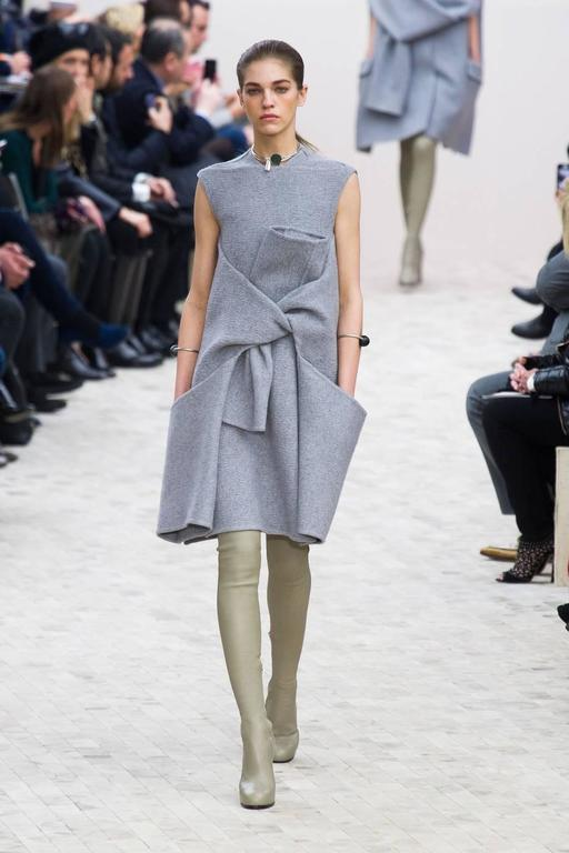 unworn CELINE grey cashmere runway dress with knotted 'sleeves' - fall 2013 2