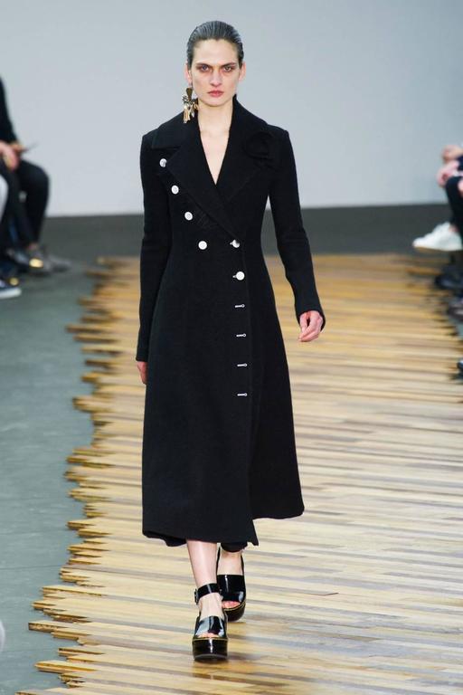 unworn CELINE black wool runway coat with asymmetrical buttons - fall 2014 For Sale 3