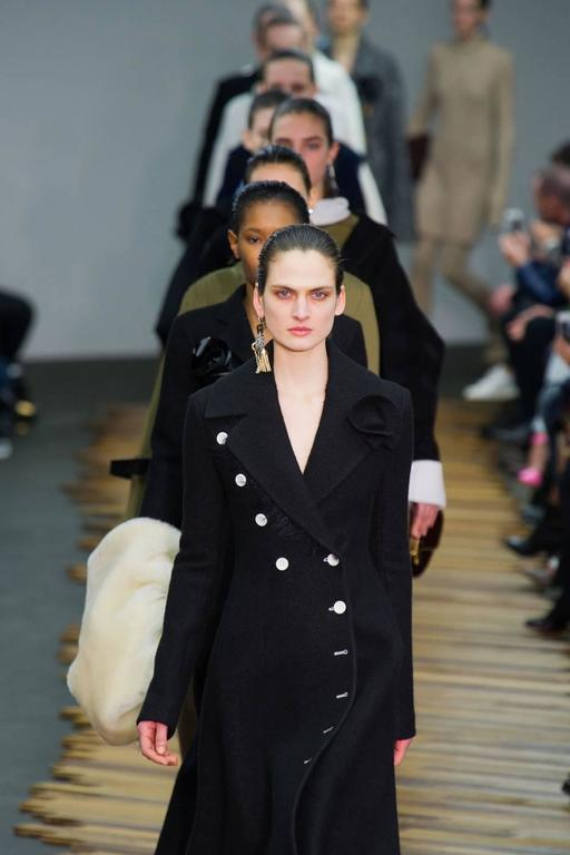 unworn CELINE black wool runway coat with asymmetrical buttons - fall 2014 For Sale 4