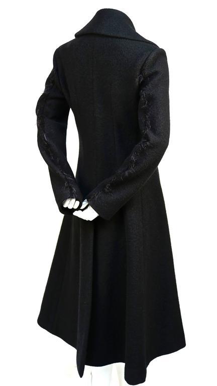 Women's unworn CELINE black wool runway coat with asymmetrical buttons - fall 2014 For Sale