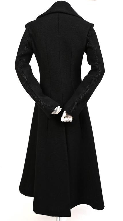 unworn CELINE black wool runway coat with asymmetrical buttons - fall 2014 For Sale 1