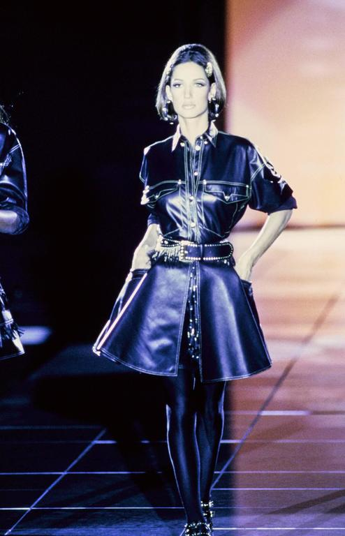Iconic GIANNI VERSACE Bondage Harness silk blouse and leather skirt Fall 1992 For Sale 5