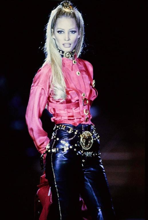 Iconic GIANNI VERSACE Bondage Harness silk blouse and leather skirt Fall 1992 9