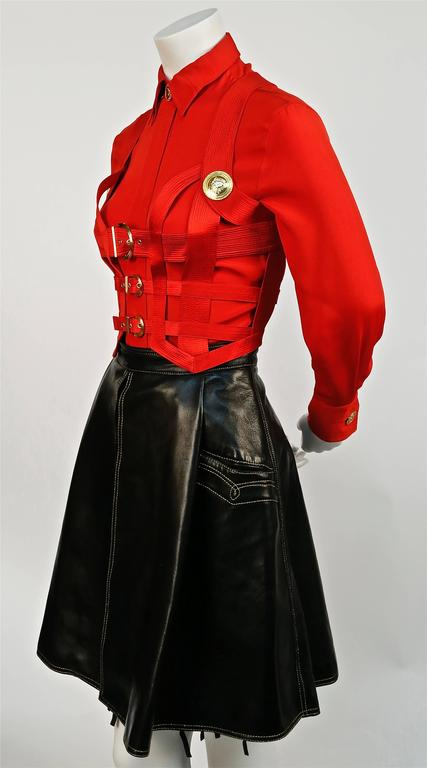 Black Iconic GIANNI VERSACE Bondage Harness silk blouse and leather skirt Fall 1992 For Sale