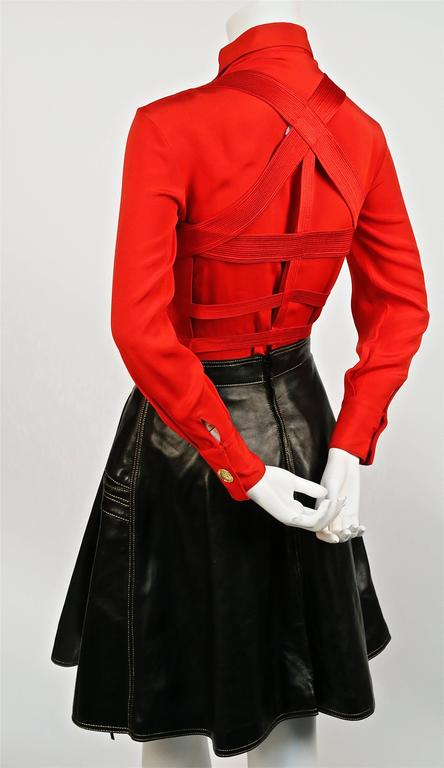 Iconic GIANNI VERSACE Bondage Harness silk blouse and leather skirt Fall 1992 In Excellent Condition For Sale In San Fransisco, CA