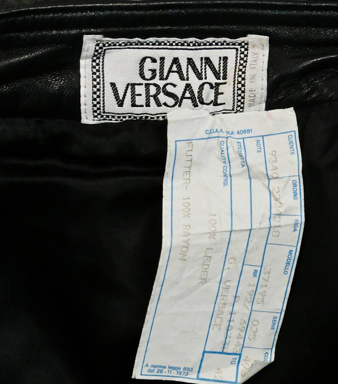 Iconic GIANNI VERSACE Bondage Harness silk blouse and leather skirt Fall 1992 For Sale 1
