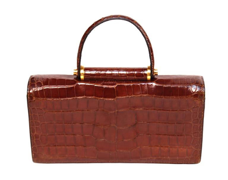 Hermes crocodile top handle bag with geometric hardware, 1940s  5