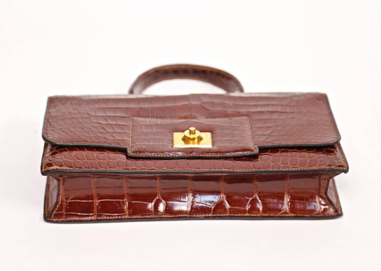 Hermes crocodile top handle bag with geometric hardware, 1940s  7