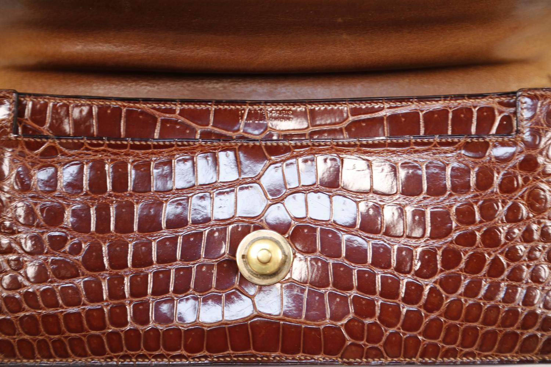 1940's hermes crocodile top handle bag with geometric hardware