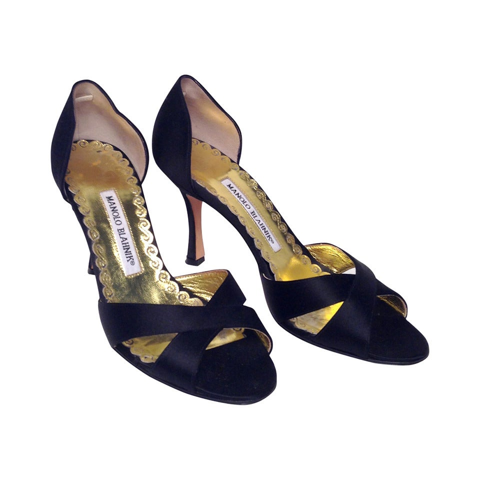 Manolo Blahnik Black Satin D'Orsay Pump Size 36.5 at 1stdibs