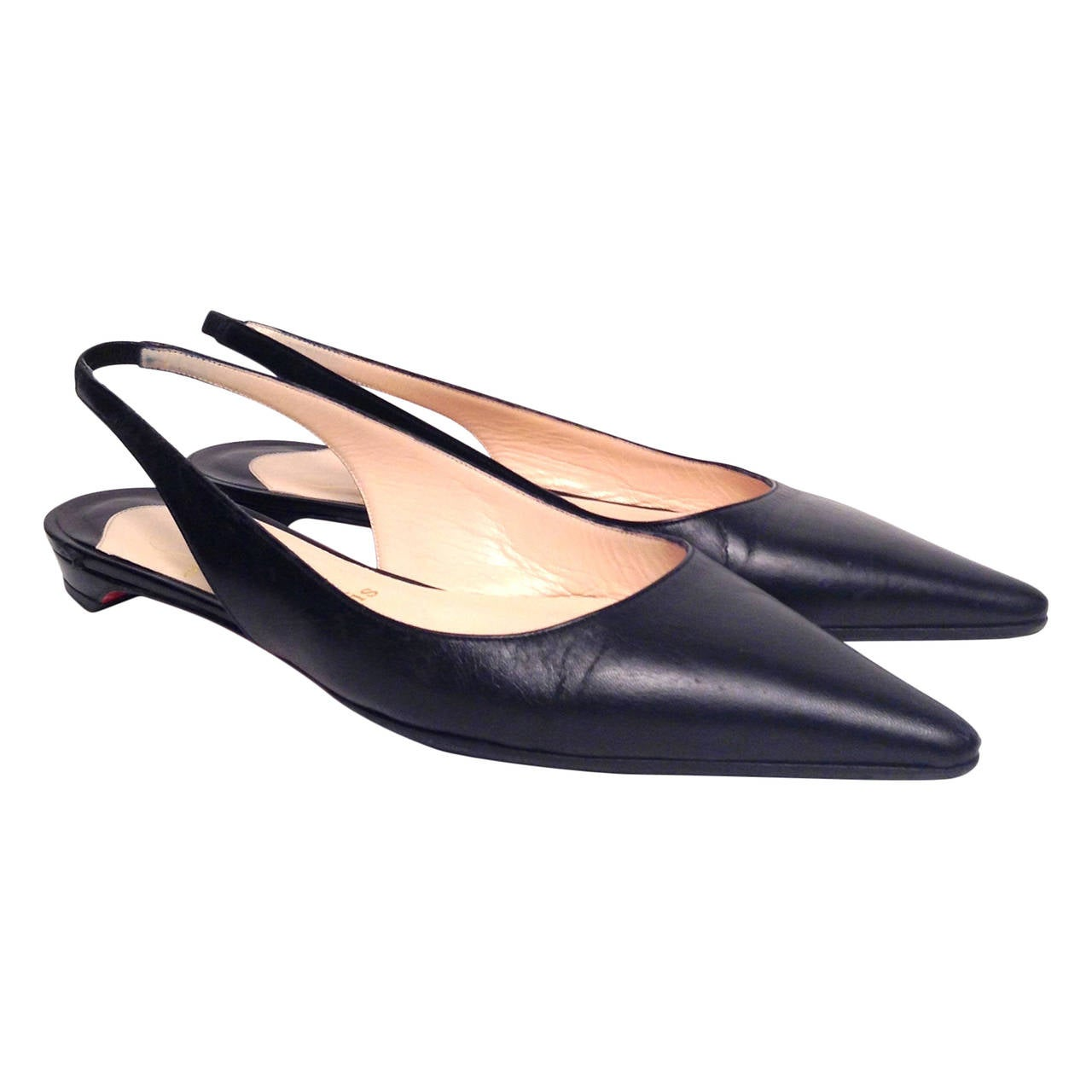 christian louboutin black flat pointy slingbacks size 39 at 1stdibs