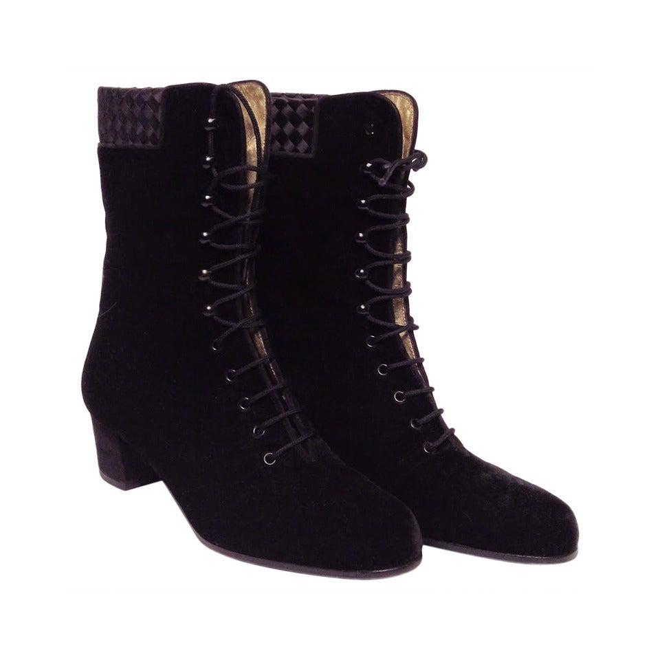 Bottega Veneta Black Velvet Vintage Victorian Boot Size 7