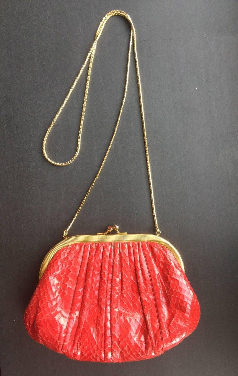 Women's or Men's Red Snakeskin Clutch For Sale