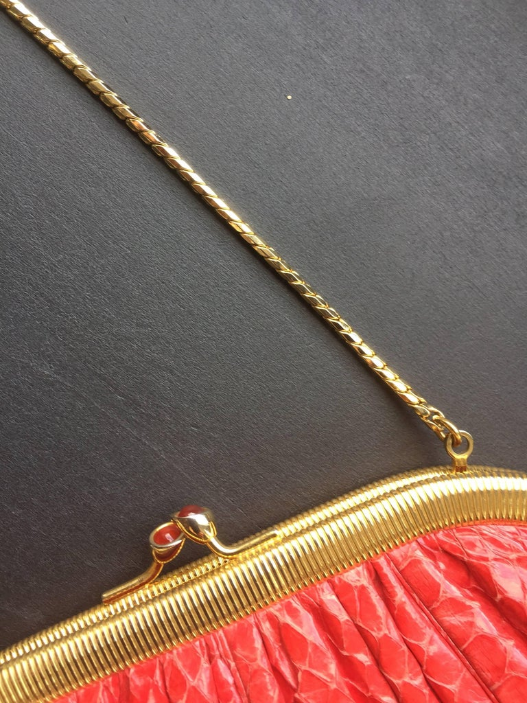 Red Snakeskin Clutch For Sale 2