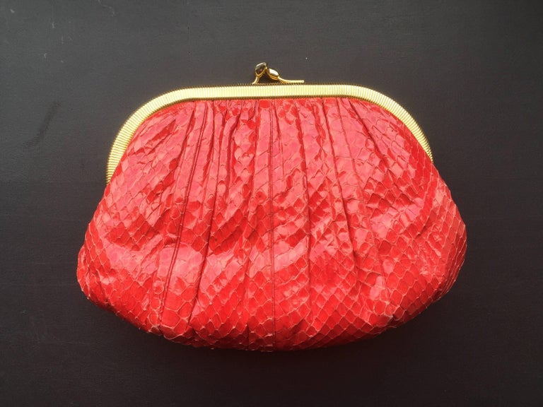 Red Snakeskin Clutch For Sale 3