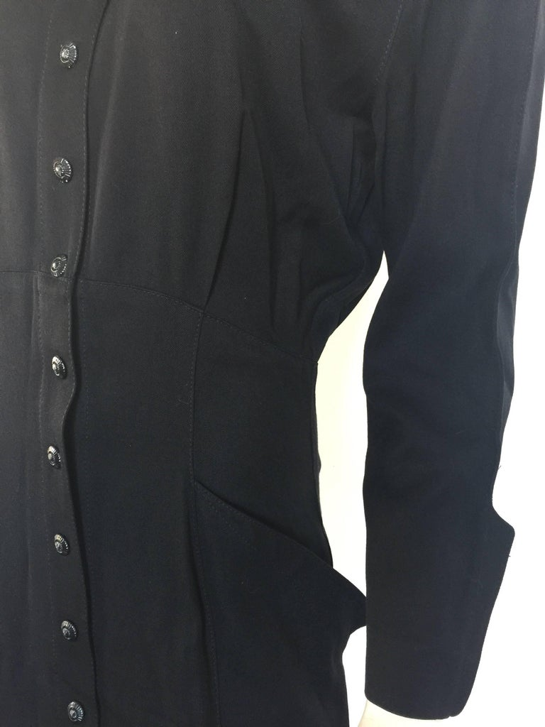 Black button down 1908s Thierry Mugler Dress  In Good Condition For Sale In New York, NY