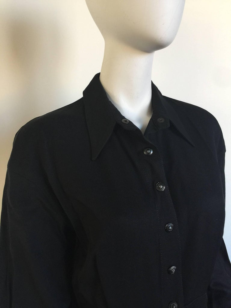 Women's or Men's Black button down 1908s Thierry Mugler Dress  For Sale