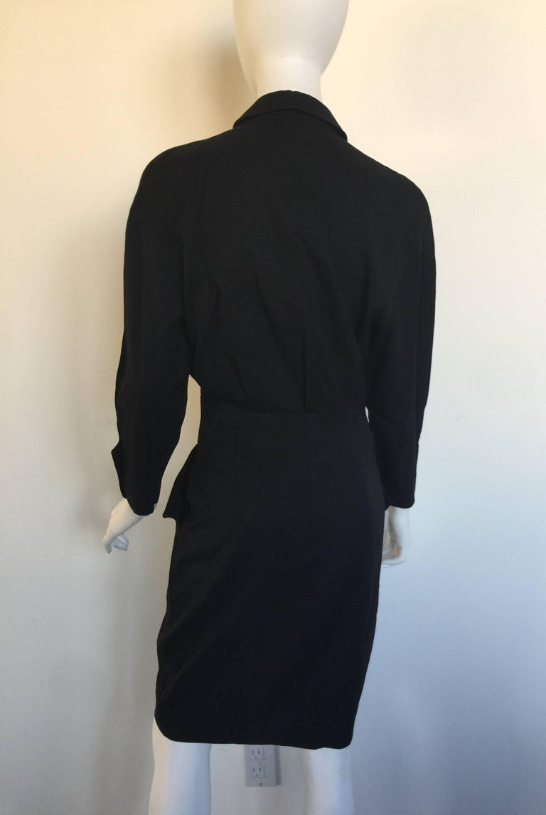 Black button down 1908s Thierry Mugler Dress  For Sale 2