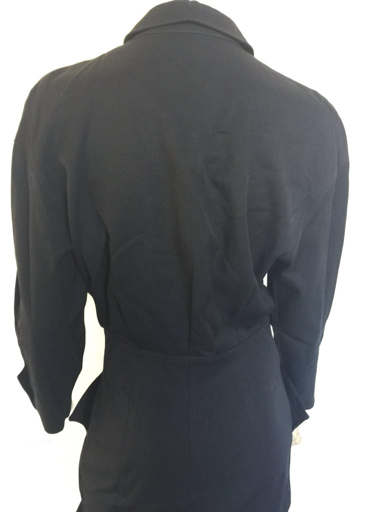 Black button down 1908s Thierry Mugler Dress  For Sale 3