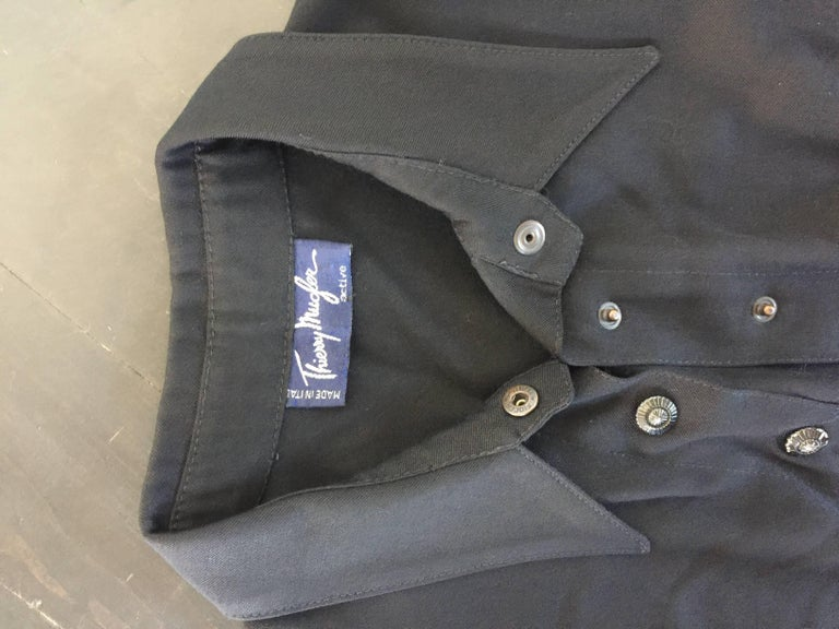 Black button down 1908s Thierry Mugler Dress  For Sale 4
