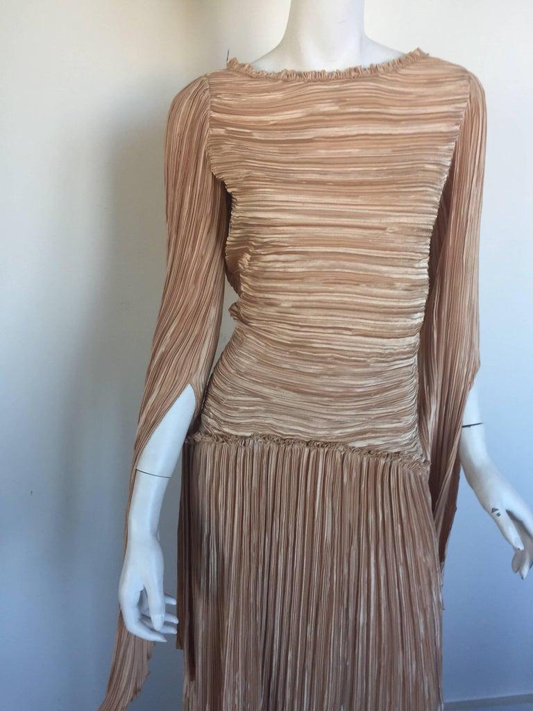 Mary McFadden nude draped sleeve pleated dress  2
