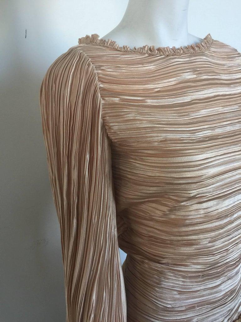 Mary McFadden nude draped sleeve pleated dress  3