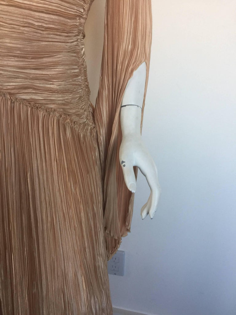 Mary McFadden nude draped sleeve pleated dress  4