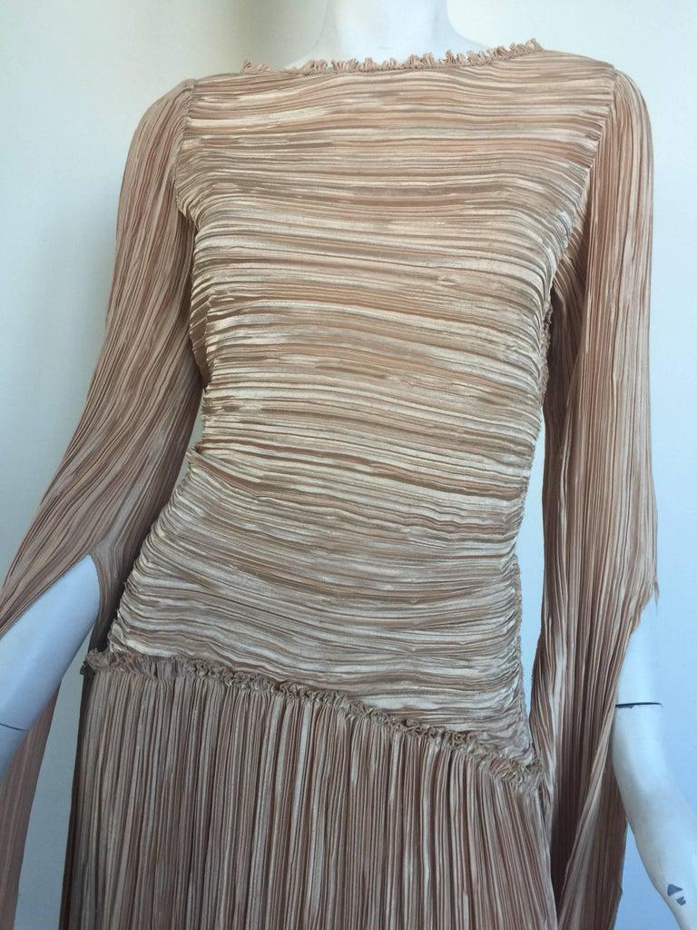 Mary McFadden nude draped sleeve pleated dress  5