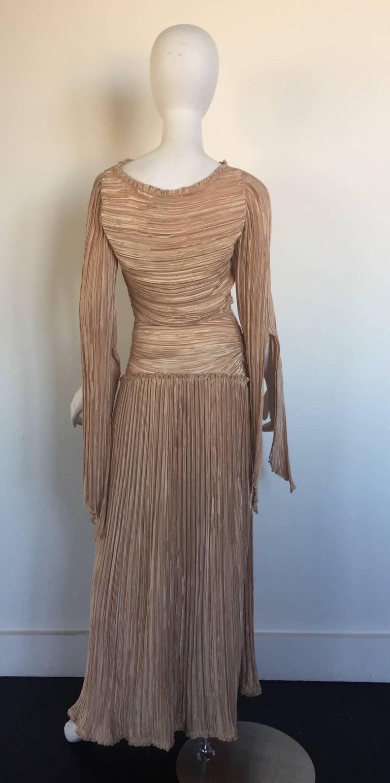 Mary McFadden nude draped sleeve pleated dress  6