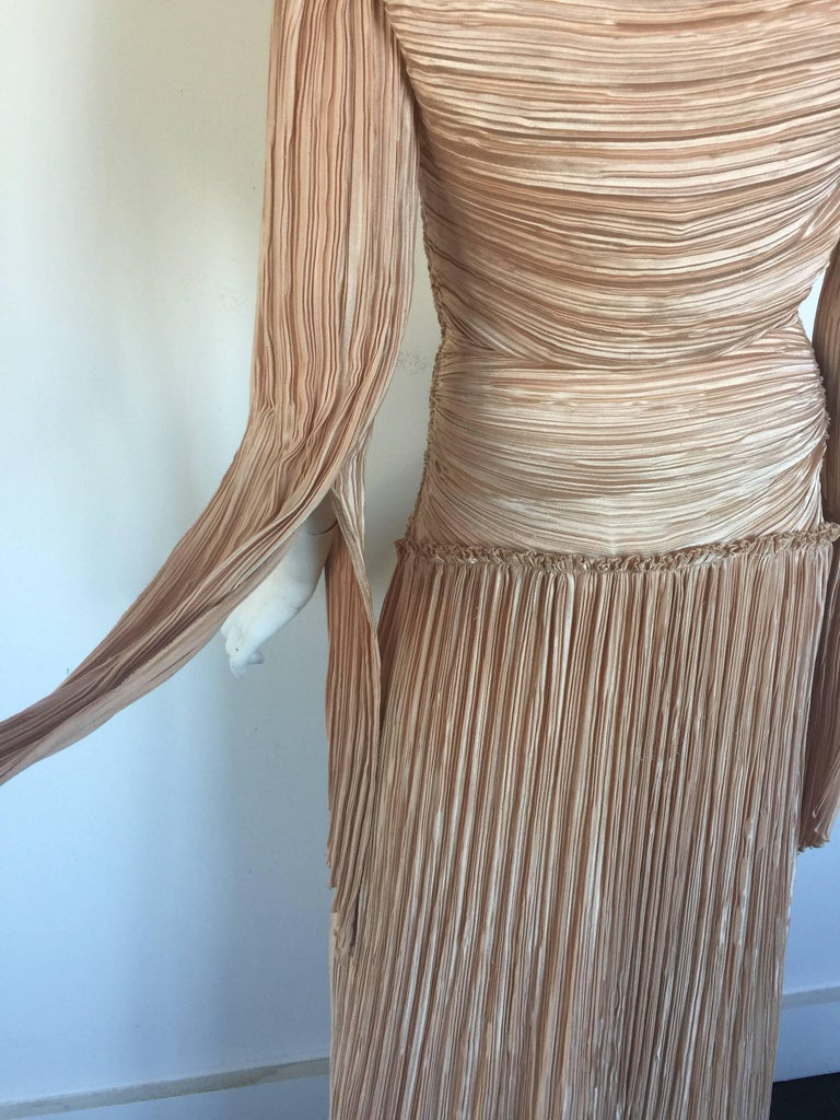 Mary McFadden nude draped sleeve pleated dress  7