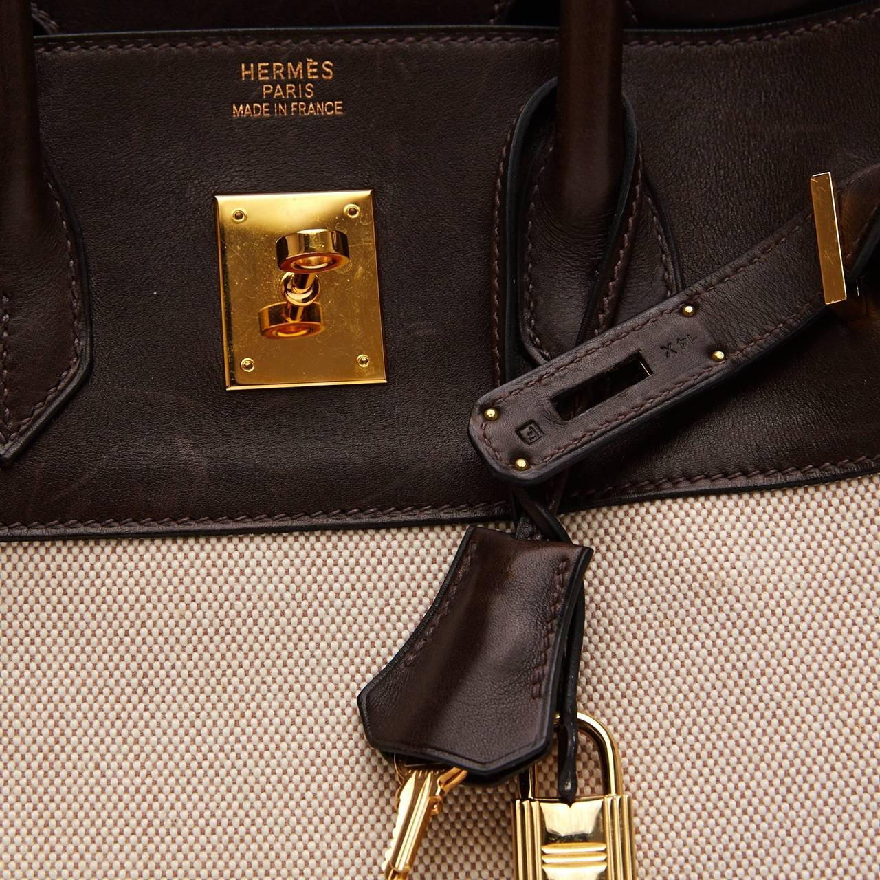 ed98740dc952 ... where can i buy hermes birkin leather and toile tote bag brown natural  ec423 6f84f