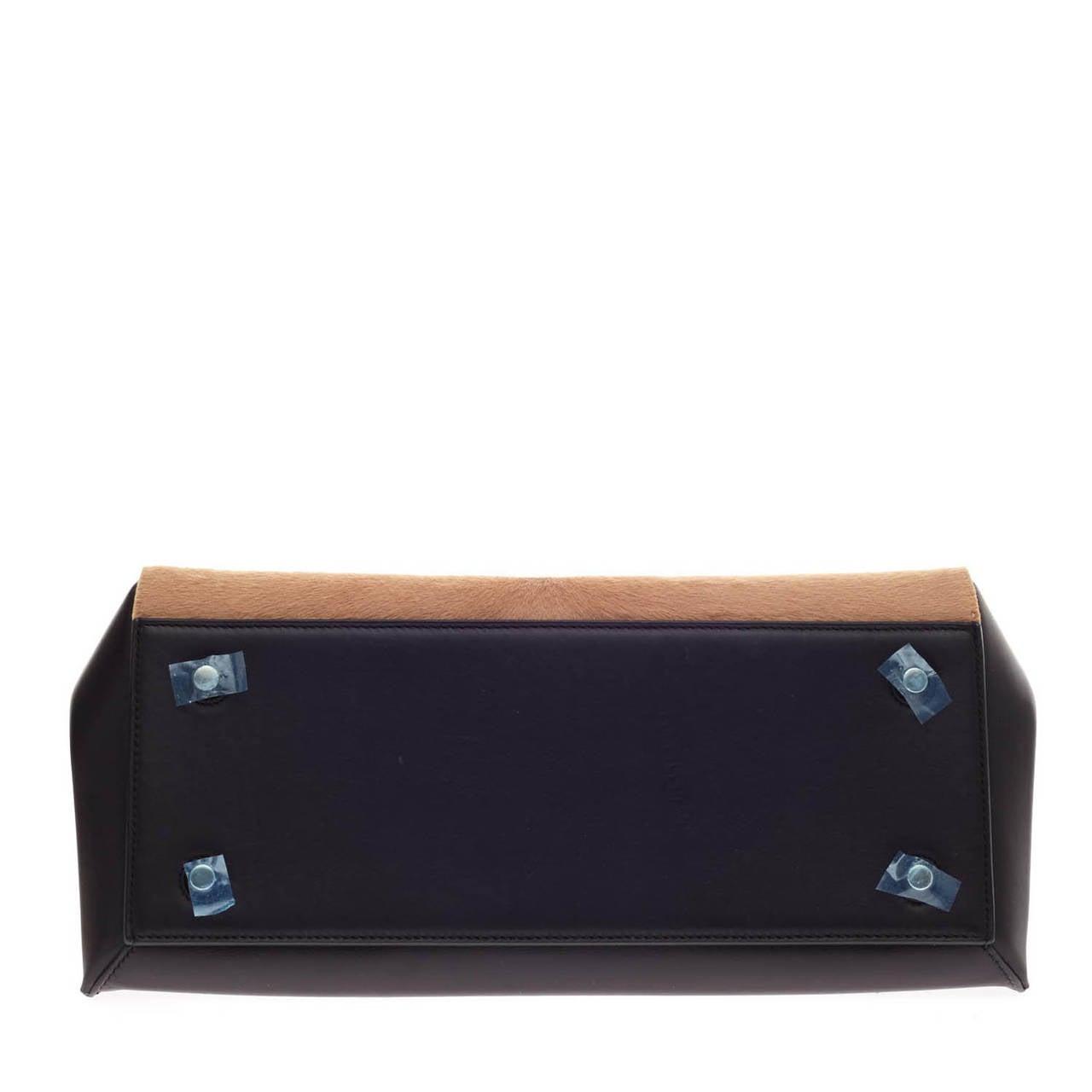 buy imitation handbags - celine black calfskin leather and blue pony hair medium edge ...