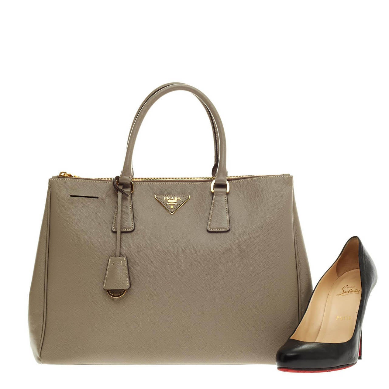Prada Saffiano Two Zip Lux Tote Medium - Large at 1stdibs