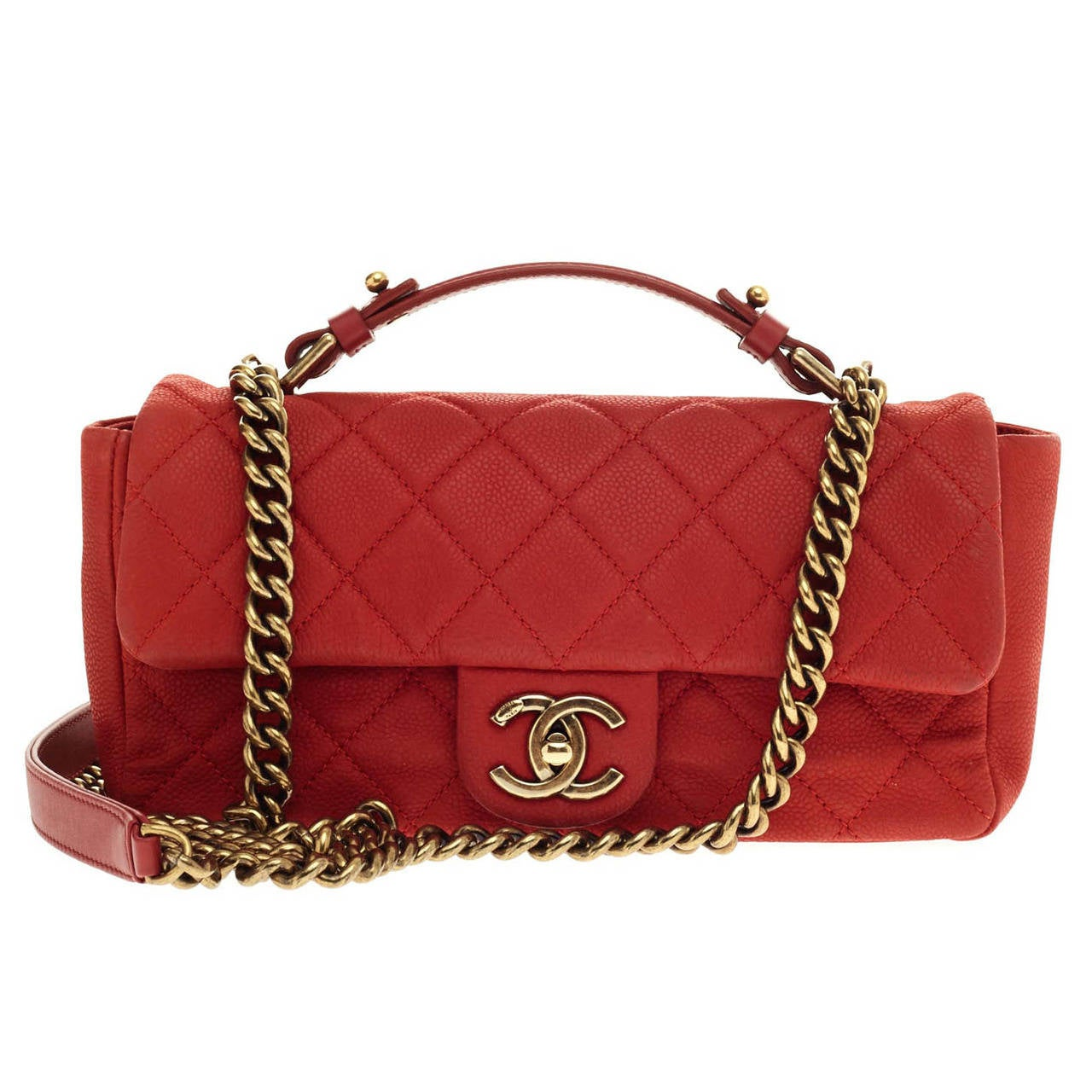 Chanel Chic Handle Flap Bag Quilted Caviar Small At 1stdibs