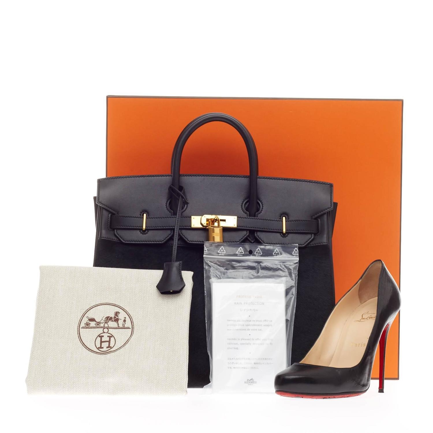 brighton knockoffs - Hermes Birkin Troika HAC Black Evercalf and Pony Hair with Gold ...
