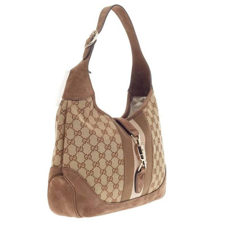 ab3adc90869 Gucci Jackie Original Web Shoulder Bag GG Canvas and Nubuck Medium In Good  Condition For Sale